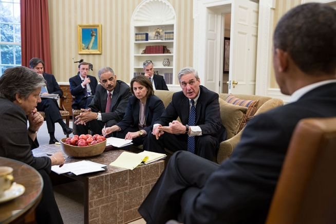 Obama receives a briefing on the attack from DHS, FBI, and Counter-terrorism officials.